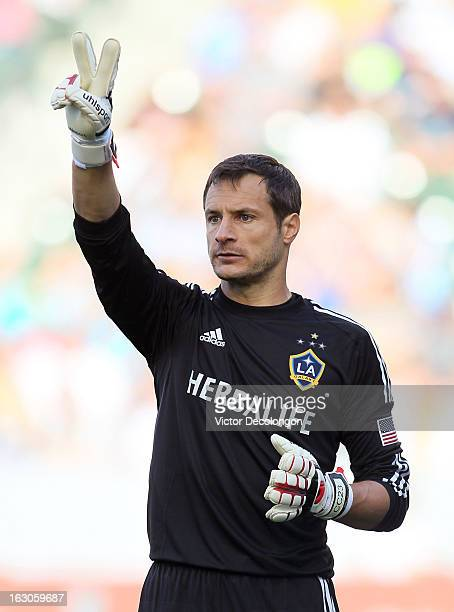 Goalkeeper Carlo Cudicini of the Los Angeles Galaxy signals to his teammates prior to a Chicago Fire direct free kick during their MLS match at The...