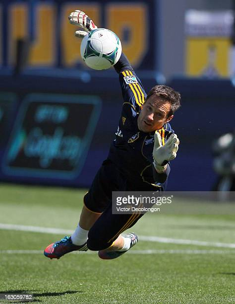 Goalkeeper Carlo Cudicini of the Los Angeles Galaxy warms up prior to the MLS match against the Chicago Fire at The Home Depot Center on March 3 2013...