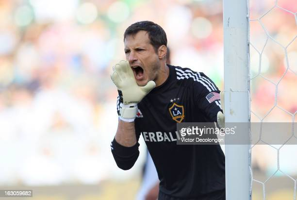 Goalkeeper Carlo Cudicini of the Los Angeles Galaxy yells to his defenders during the MLS match against Chicago Fire at The Home Depot Center on...