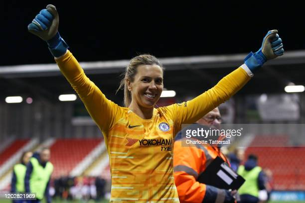 Goalkeeper Carly Telford of Chelsea FC celebrates Chelsea's victory during the FA Women's Continental League Cup Semi-Final match between Manchester...