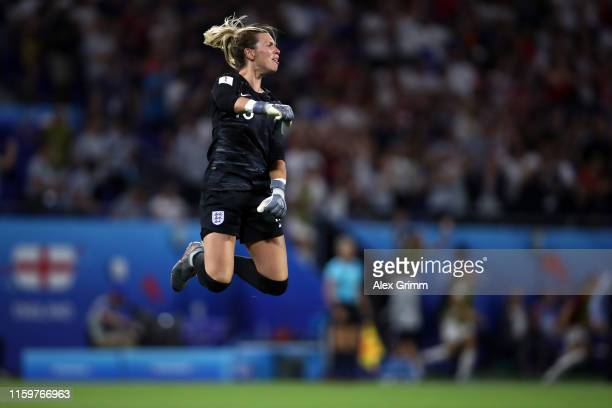 Goalkeeper Carly Telford of England celebrates a goal that was later disallowed during the 2019 FIFA Women's World Cup France Semi Final match...