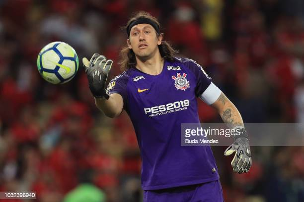 Goalkeeper Cassio of Corinthians in action during a match between Flamengo and Corinthians as part of Copa do Brasil SemiFinals 2018 at Maracana...