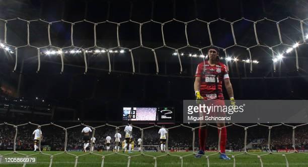 Goalkeeper Cassio of Corinthians reacts after a goal of Fernando Fernandez of Guarani PAR during a match between Corinthians and Guarani PAR as part...