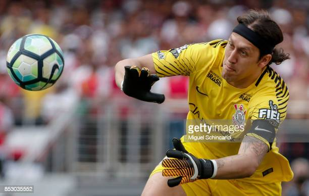 Goalkeeper Cassio of Corinthians saves a shot during the match between Sao Paulo and Corinthians for the Brasileirao Series A 2017 at Morumbi Stadium...