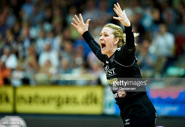 Goalkeeper Chana Masson of Viborg HK celebrate during 2nd national final between Viborg HK and FC Midtjylland in Viborg Stadionhal on May 21 2014 in...