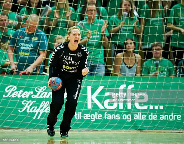 Goalkeeper Chana Masson of Viborg HK celebrate in 2nd national final between Viborg HK and FC Midtjylland in Viborg Stadionhal on May 21 2014 in...