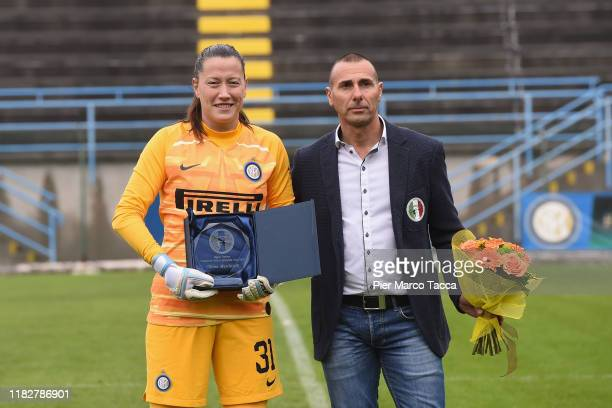 Goalkeeper Chiara Marchitelli of FC Internazionale Women receives a prize during the Women Serie A match between FC Internazionale and Orobica at...