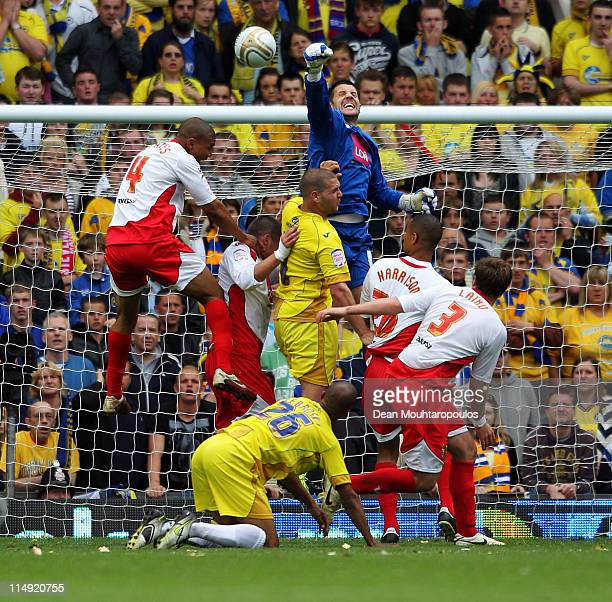 Goalkeeper Chris Day of Stevenage punches the ball clear during the npower League Two Playoff Final between Stevenage and Torquay United at Old...