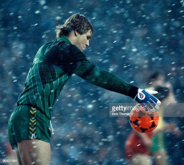 Goalkeeper Chris Woods of Norwick City kicks the ball in heavy snow during the Liverpool v Norwich City FA Cup 3rd Round match played at Anfield on...