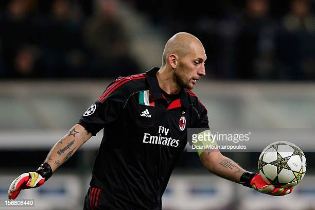 Goalkeeper Christian Abbiati of AC Milan in action during the UEFA Champions League Group C match between RSC Anderlecht and AC Milan at the Constant...