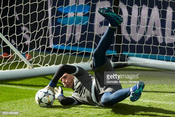 Goalkeeper Christian Fruchtl during a training session held ahead of the UEFA Champions League semifinal second league match between Real Madrid CF...