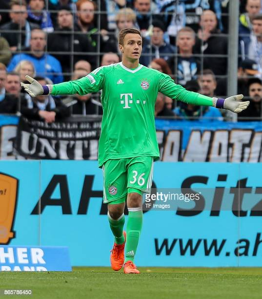 goalkeeper Christian Fruechtl of Bayern Muenchen gestures during the match between TSV 1860 Muenchen and Bayern Muenchen II at Stadion an der...