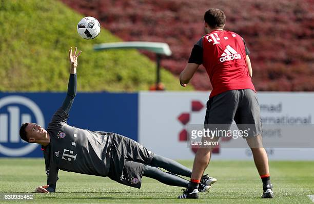 Goalkeeper Christian Fruechtl warms up during a training session at day 2 of the Bayern Muenchen training camp at Aspire Academy on January 4 2017 in...