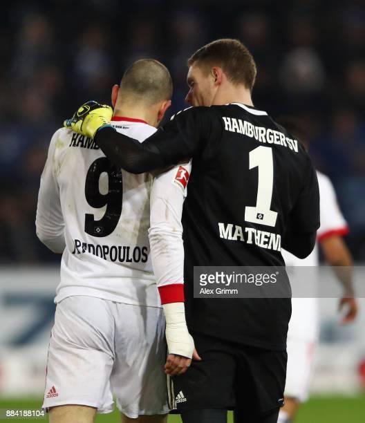 Goalkeeper Christian Mathenia and Kyriakos Papadopoulos of Hamburg react during the Bundesliga match between SportClub Freiburg and Hamburger SV at...