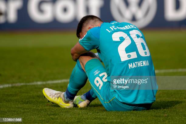 goalkeeper Christian Mathenia of 1FC Nuernberg during the DFB Cup first round match between 1 FC Nuernberg and RB Leipzig at MaxMorlockStadion on...