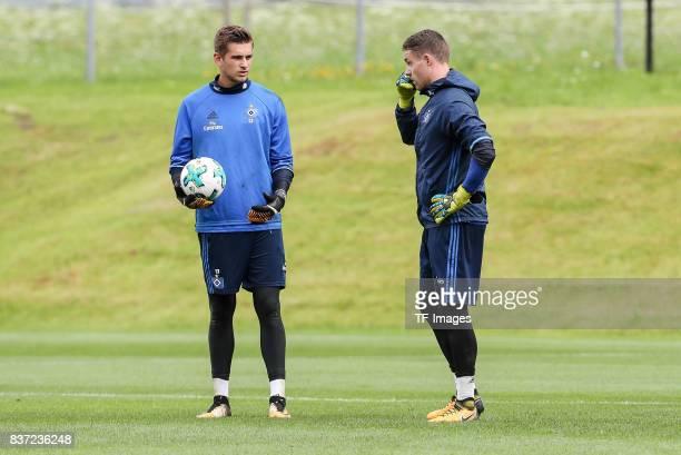 Goalkeeper Christian Mathenia of Hamburg and Goalkeeper Julian Pollersbeck of Hamburg looks on during the Training Camp of Hamburger SV on July 23...