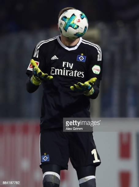 Goalkeeper Christian Mathenia of Hamburg catches the ball during the Bundesliga match between SportClub Freiburg and Hamburger SV at...