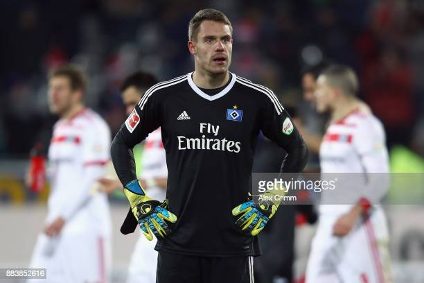 Goalkeeper Christian Mathenia of Hamburg reacts after the Bundesliga match between SportClub Freiburg and Hamburger SV at SchwarzwaldStadion on...