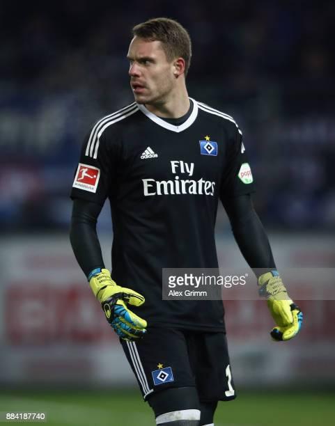 Goalkeeper Christian Mathenia of Hamburg reacts during the Bundesliga match between SportClub Freiburg and Hamburger SV at SchwarzwaldStadion on...
