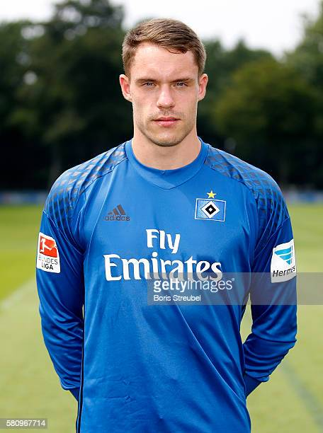 Goalkeeper Christian Mathenia of Hamburger SV poses during the Hamburger SV Team Presentation at Volksparkstadion on July 25 2016 in Hamburg Germany