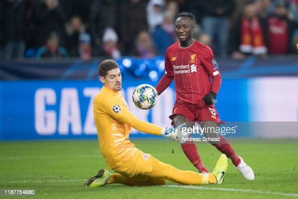 Goalkeeper Cican Stankovic of FC Salzburg and Naby Keita of Liverpool FC during the UEFA Champions League group E match between RB Salzburg and...