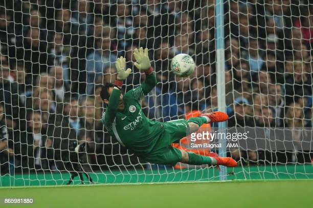 Goalkeeper Claudio Bravo Manchester City saves a penalty from Alfred NDiaye of Wolverhampton Wanderers during the penalty shoot out during the...