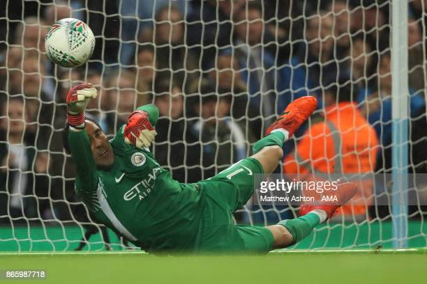 Goalkeeper Claudio Bravo Manchester City saves a penalty from Alfred NDiaye of Wolverhampton Wanderers during the penalty shoot out in the Carabao...
