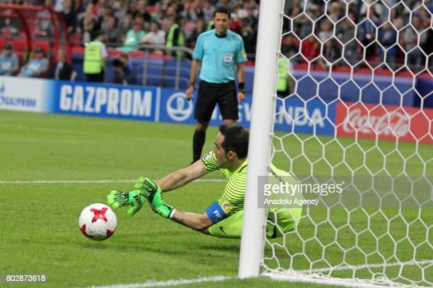 Goalkeeper Claudio Bravo of Chile in action during the FIFA Confederations Cup 2017 Semifinal soccer match between Portugal and Chile at 'KazanArena'...