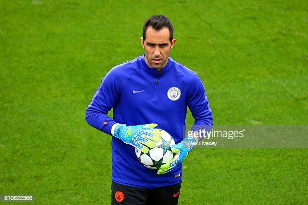 Goalkeeper Claudio Bravo of Manchester City looks on during a training session on the eve of their UEFA Champions League Group C match against Celtic...