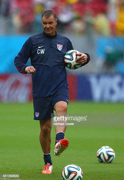Goalkeeper coach Chris Woods of the United States looks on prior to the 2014 FIFA World Cup Brazil group G match between the United States and...