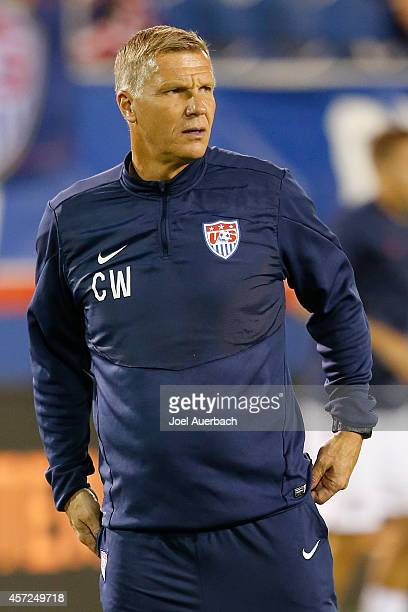 Goalkeeper coach Chris Woods of the USA looks on as the players warm up prior to an International Friendly match against Honduras on October 14, 2014...