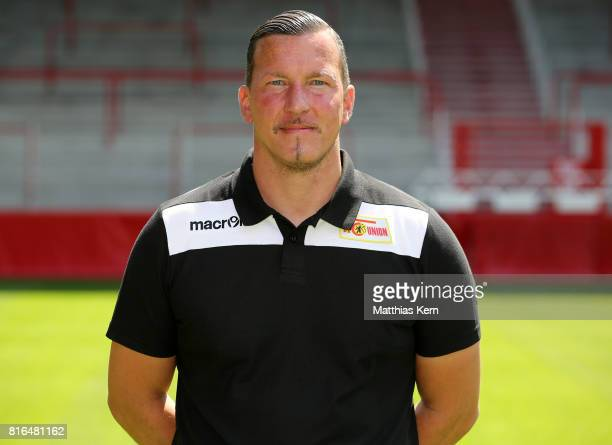 Goalkeeper coach Dennis Rudel of 1 FC Union Berlin poses during the team presentation at Stadion an der Alten Foersterei on July 17 2017 in Berlin...