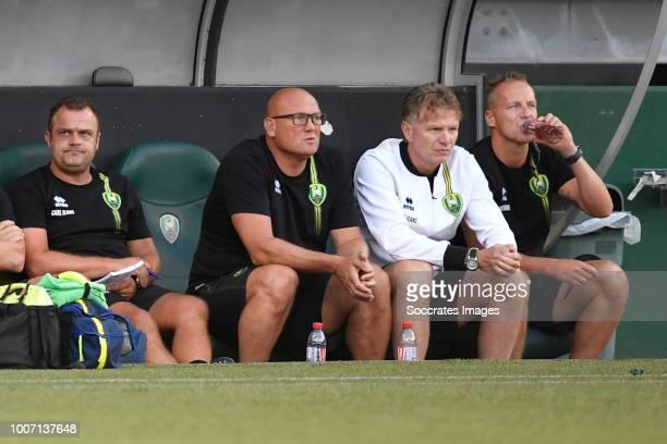 goalkeeper coach Raymond Mulder of ADO Den haag assistant coach Dirk Heesen of ADO Den Haag coach Alfons Groenendijk of ADO Den Haag assistant coach...