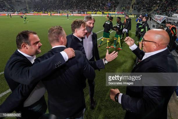 goalkeeper coach Raymond Mulder of ADO Den haag assistant trainer Edwin de Graaf of ADO Den Haag coach Alfons Groenendijk of ADO Den Haag assistant...