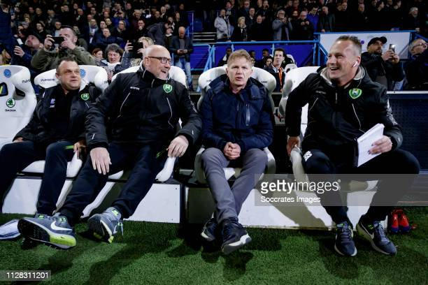 goalkeeper coach Raymond Mulder of ADO Den haag assistant trainer Dirk Heesen of ADO Den Haag coach Alfons Groenendijk of ADO Den Haag assistant...