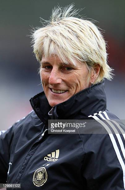 Goalkeeper coach Silke Rottenberg of Germany looks on during the U17 International friendly match between Germany and Netherlands at Athletic stadium...