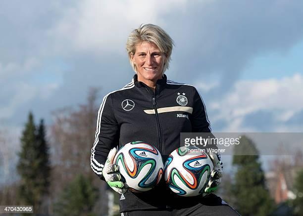 Goalkeeper coach Silke Rottenberg poses during the german women U17 team presentation at Sportschule Kaiserau on February 19 2014 in Kamen Germany