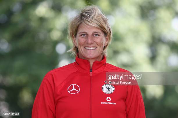 Goalkeeper coach Silke Rottenberg poses during the U19 Germany Women's Tem Presentation at Sportschule Wedau on September 10 2017 in Duisburg Germany