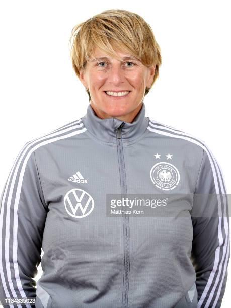 Goalkeeper coach Silke Rottenberg poses during the U19 Women's Germany team presentation on April 1 2019 in Kleinmachnow Germany