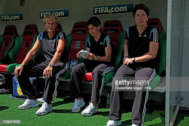 Goalkeeper coach Silke Rottenberg second Coach Bettina Wiegmann and Head Coach Maren Meinert of Germany pose during the FIFA U20 Women's World Cup...