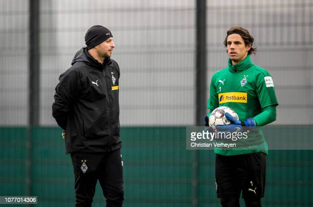 Goalkeeper Coach Steffen Krebs and Yann Sommer during a training session of Borussia Moenchengladbach at BorussiaPark on January 04 2019 in...