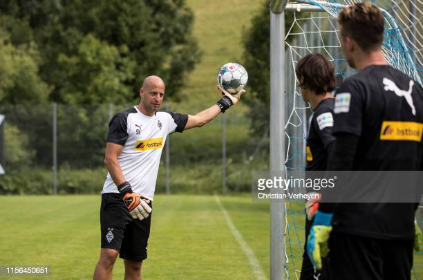 Goalkeeper Coach Steffen Krebs gives instructions during the Borussia Moenchengladbach Training Camp on July 19, 2019 in Rottach-Egern, Germany.
