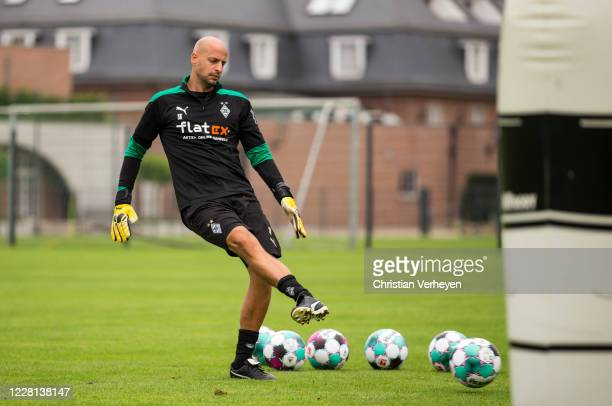 Goalkeeper Coach Steffen Krebs in action during a Training session at the Training Camp of Borussia Moenchengladbach at Klosterpforte on August 21,...