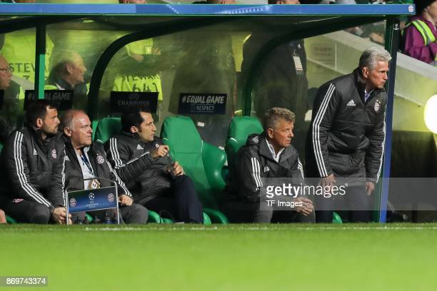 Goalkeeper coach Toni Tapalovic of Bayern Munich cocoach Hermann Gerland of Bayern Munich Hasan Salihamidzic cocoach Peter Hermann of Bayern Munich...