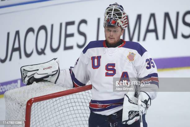 Goalkeeper Cory Schneider of USA reacts during the international friendly game between Germany and USA ahead of the 2019 IIHF Ice Hockey World...