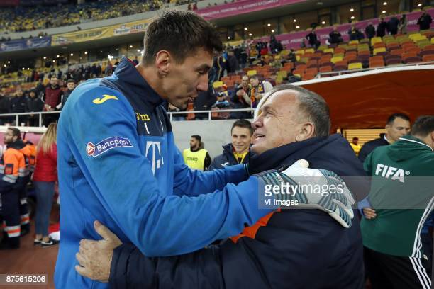 goalkeeper Costel Pantilimon of Romania coach Dick Advocaat of Holland during the friendly match between Romania and The Netherlands on November 14...