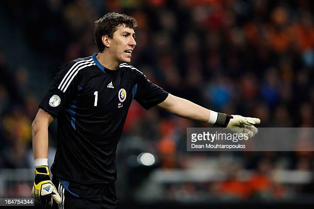 Goalkeeper Costel Pantilimon of Romania in action during the Group 4 FIFA 2014 World Cup Qualifier match between Netherlands and Romania at Amsterdam...