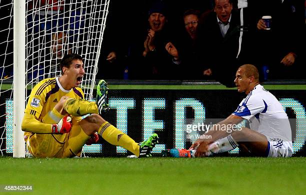 Goalkeeper Costel Pantilimon of Sunderland reacts after teammate Wes Brown of Sunderland scores an own goal to level the scores at 11 during the...