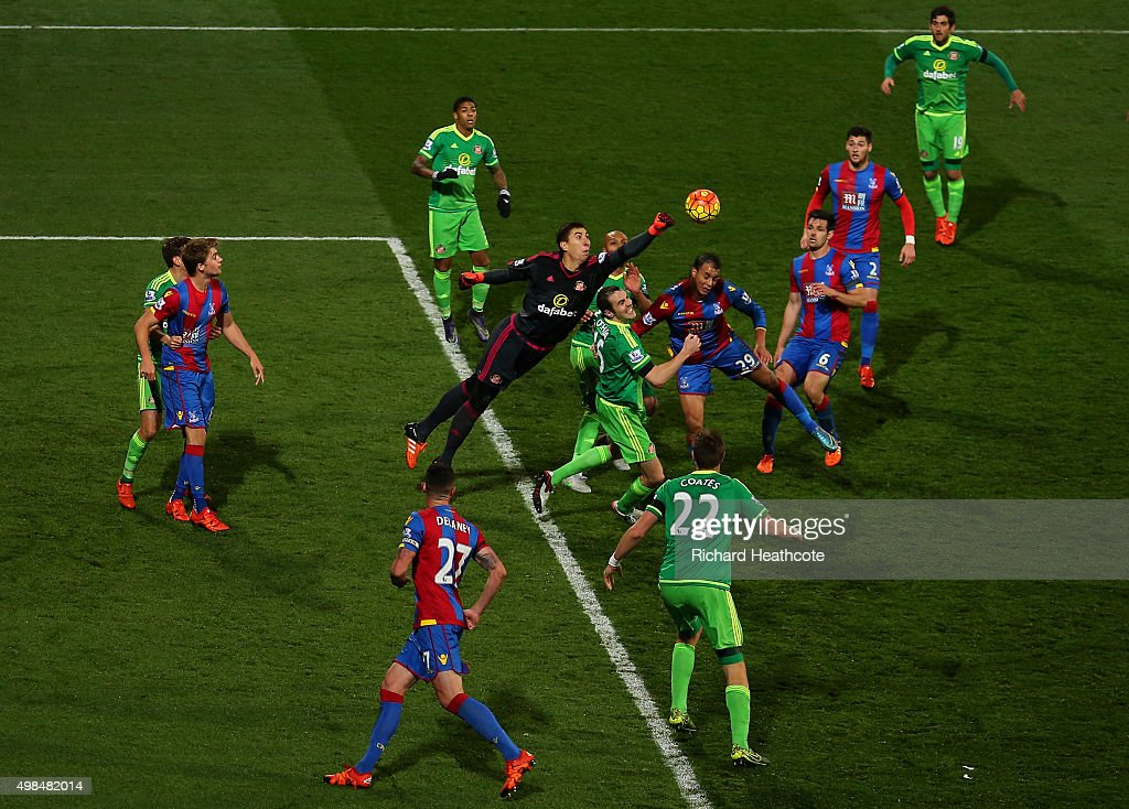 Goalkeeper Costell Pantilimon of Sunderland punches the ball clear during the Barclays Premier League match between Crystal Palace and Sunderland at Selhurst Park on November 23, 2015 in London, England.