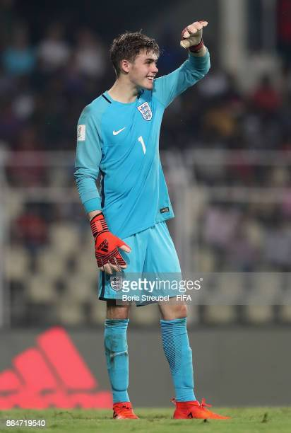 Goalkeeper Curtis Anderson of England reacts during the FIFA U17 World Cup India 2017 Quarter Final match between USA and England at Pandit...